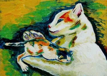 "Saatchi Art Artist Elisabeta Vlad; Painting, ""Cat and kitten"" #art"