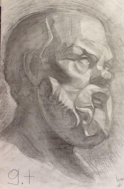 Академический рисунок. Гипсовая голова Сократа.