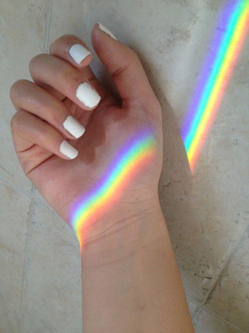 Imagen de rainbow, nails, and white