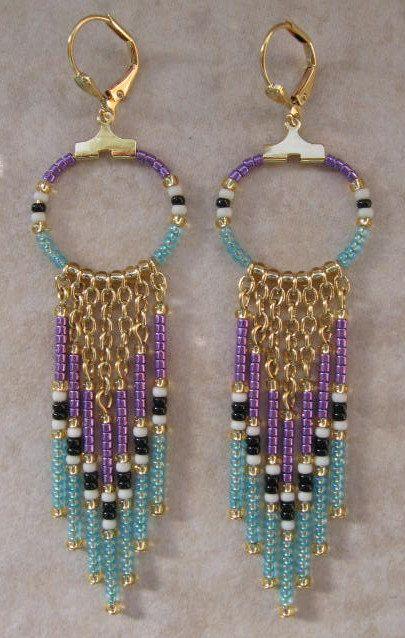 Seed Bead Chain Hoop Earrrings  Purple/Baby Blue by pattimacs, $16.00