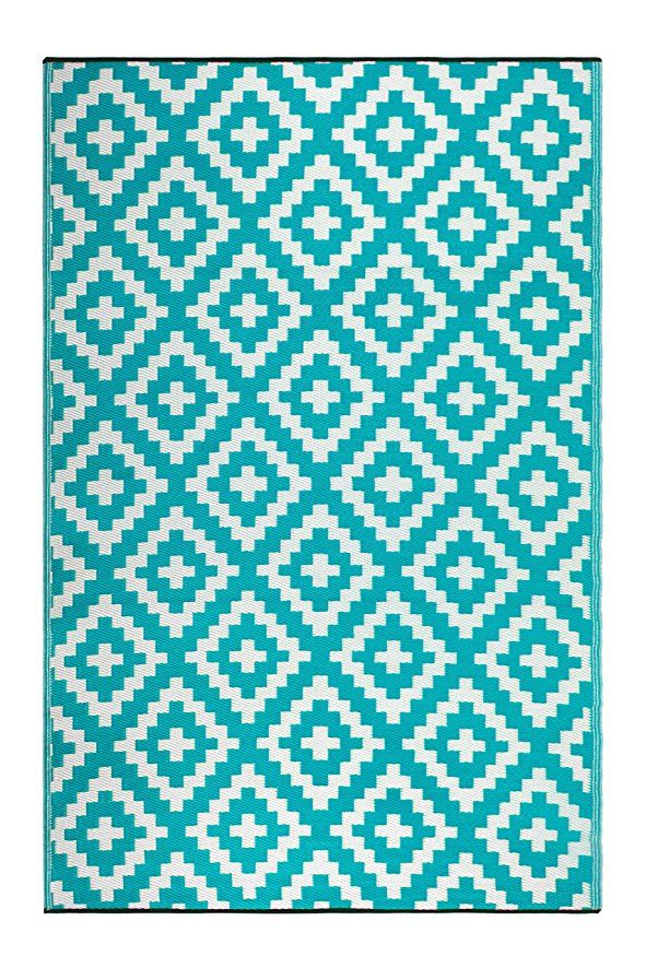 Fh Home Indoor Outdoor Recycled Plastic Floor Mat Rug Reversible Weather Uv Resistant Fh05 Light Blue 5 Ft X 8