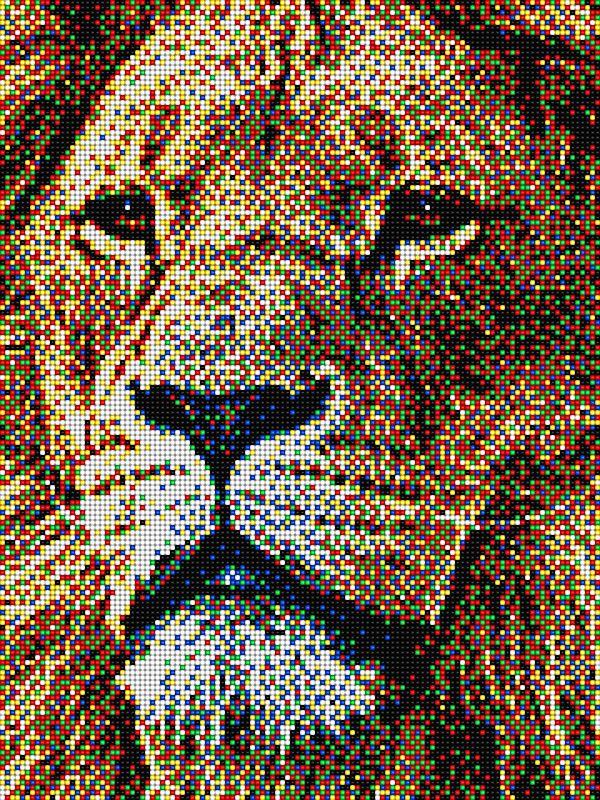 Lion with Pixel Art Quercetti - 16 pegboards | Leone con ...