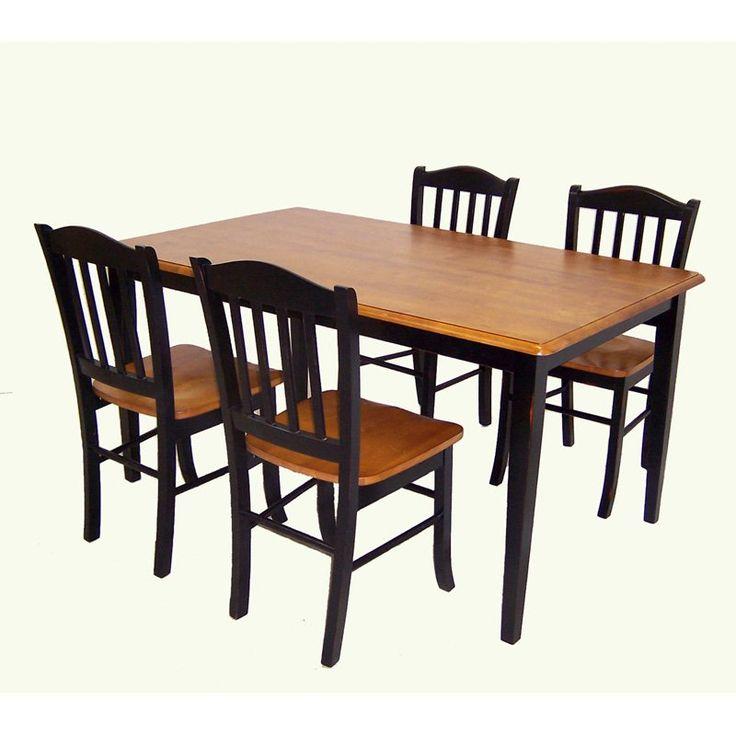 boraam shaker 5 piece dining set black u0026 oak