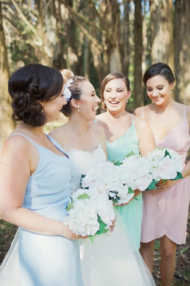 Babin Bridesmaids in Dresses from The Stockroom. Cross over Dress in Mint Viscose and 2 Cross over top Dresses in Ambrosia and Chlorine Viscose.