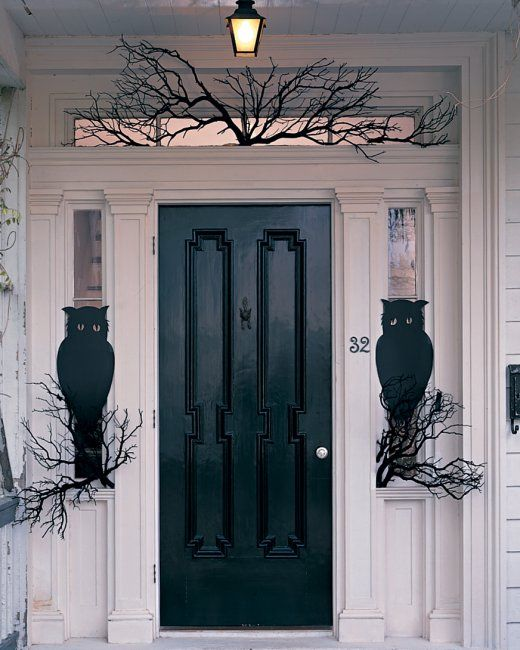 Owl night watchers porches d 39 entr e portes en avant de for Decoration porte d entree halloween