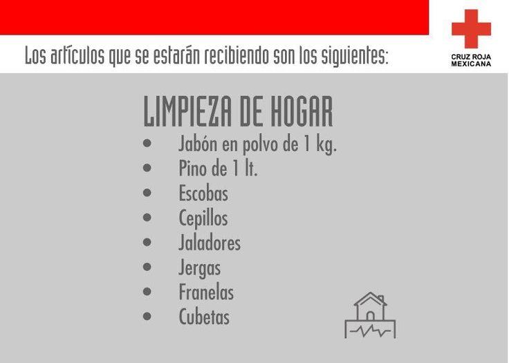 Muchos artículos son necesarios tras un sismo tan fuerte y la pérdida de todo lo que las familias tenían: Aquí la lista de los artículos de limpieza que necesitan.   Dona en la Cruz Roja Mexicana de tu municipio o delegación para ayudar a nuestros hermanos de Oaxaca y de Chiapas.