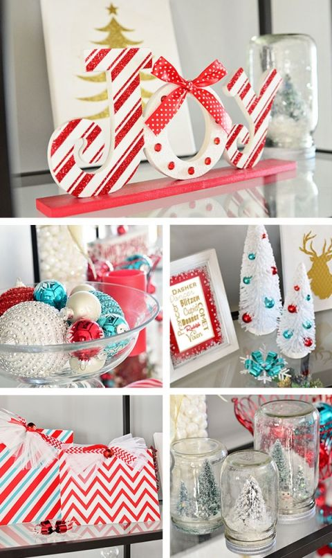 Turquoise and red Christmas decor at TidyMom.net Christmas Home Tour