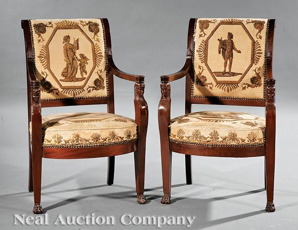 Empire Carved Mahogany Armchairs  early 19th c    Georgian FurnitureAntique. 622 best Empire and Empire style furniture images on Pinterest