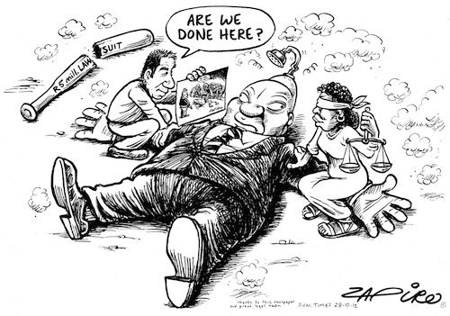 President Zuma has dropped the lawsuit against cartoonist Jonathan Shapiro and the Sunday Times, for a cartoon published in the newspaper in 2008 which showed Zuma loosening his trousers, while other key ANC members held Lady Justice down. | www.mg.co.za