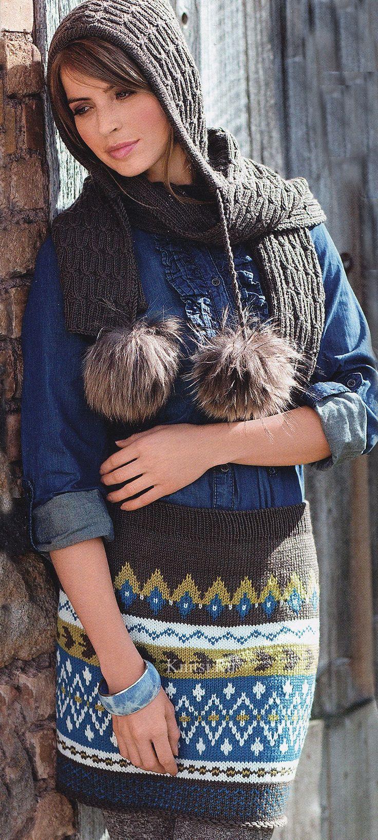 Капюшон-шарф, спицами