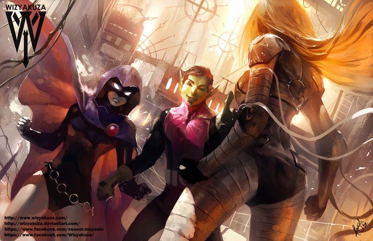 Terra vs Raven Teen Titans Cartoon Network 11 x 17 par Wizyakuza