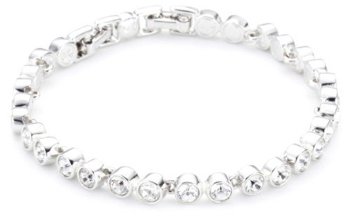 Swarovski Women's Chain Bracelet Rhodium Plated Stainless Steel with Crystal en Tennis 179135