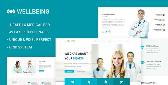 Well Being - Health & Medical PSD Template (Business) - http://wpskull.com/well-being-health-medical-psd-template-business/wordpress-offers