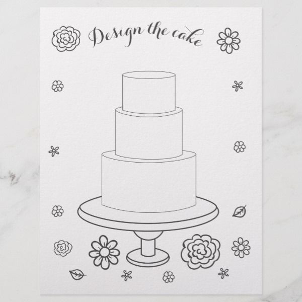 Illustrated Wedding Activity Cake Coloring Page Zazzle Com Wedding Activities Kids Wedding Activities Wedding With Kids