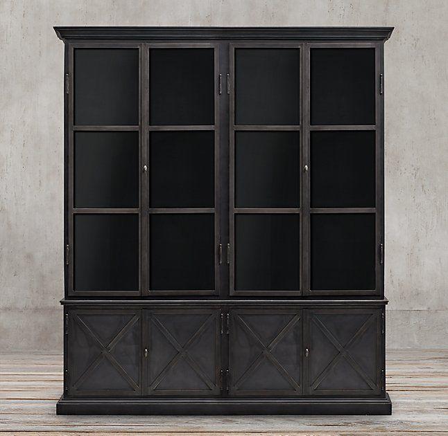 19Th C. Swedish Panel 4-Door Sideboard & Glass Hutch