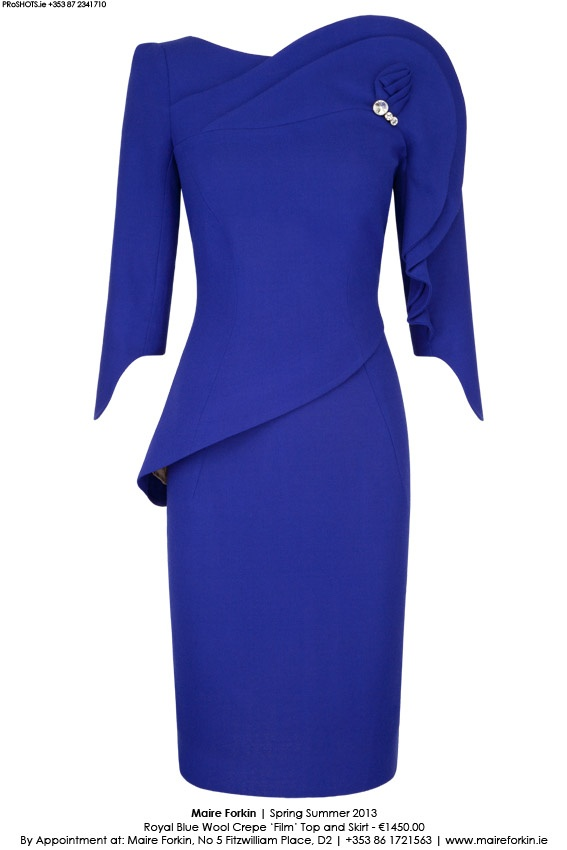 Cobalt blue chic dress fit for a princess by Maire Forkin  who designed for Lady Di