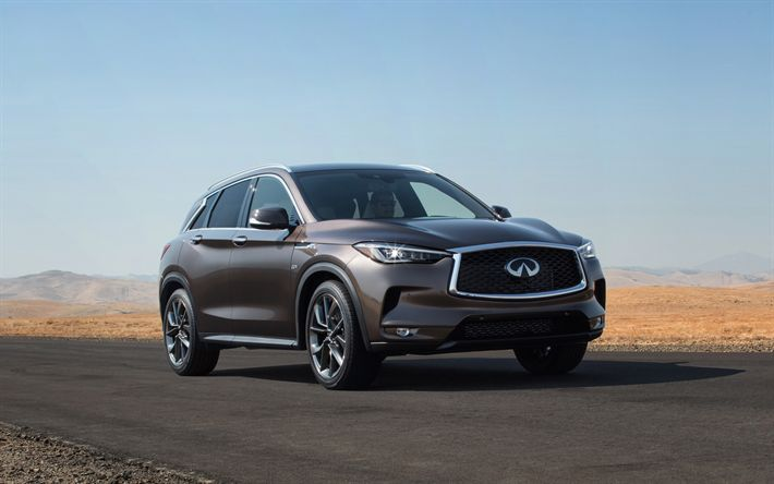 Download wallpapers Infiniti QX50, 2019, luxury crossover, brown QX50, Japanese cars, 4k, Infiniti