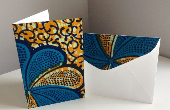 Creative Christmas Cards Anyone ? Genuine African wax fabric card & matching by AfricaFabrica, $8.00