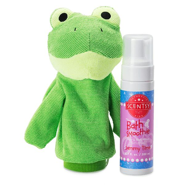 This playful, puppet-inspired bath toy and washcloth will make washing up a blast! Comes with your choice of Scentsy Bath Smoothie for a complete wash-and-play bath routine. Polyester blend; cotton lining. Hand wash, tumble dry low.