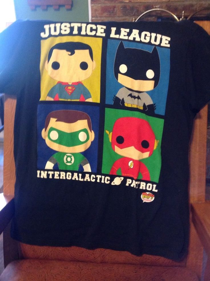 Large Justice League Dc Comics Tee Shirt Pop! Heroes Superman Batman 4 Character