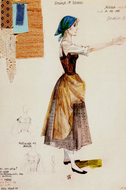 Shape and color choice are great here. Maria costume sketch for The Sound of Music (1965)