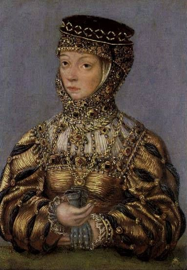 LUCAS CRANACH (1472 - 1553) - Portrait of Barbara Radziwill. National Museum, Kraków. Barbara Radziwill (1520-1551), daughter of Jerzy Radziwill and his wife Barbara Kola, She was married first to Stanislovas Gostautas and second to Zygmunt II August Jagiellon. She had no children.