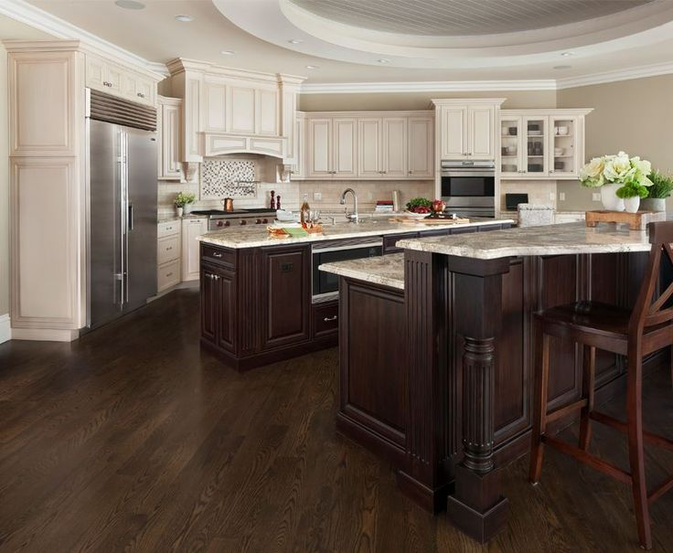 Dark Wood Cabinets And Light Granite Counter Tops Make For A Classy And  Combination, With