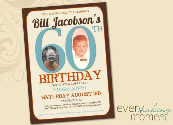 60th Birthday Party Invitation Sixtieth Custom Digital Personalized Printable Invite