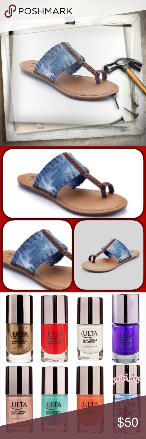"Ruff Hew ""Indie"" Fabric Thong Sandal 🔩Nail It...Gurl🔩 These boho-chic sandals are just the right ""spice"" to add to your shoe collection! Blue Tye-Dye in color; faux leather footbed w/extra cushioning; fabric banded upper w/braided faux leather toe ring thong detail; rubber outsole 🎁One full-size (0.33 oz.) Ulta Salon Formula Nail Lacquer included w/purchase. Eye-It...Buy-It✌🏾️ Ruff Hewn Shoes Sandals"