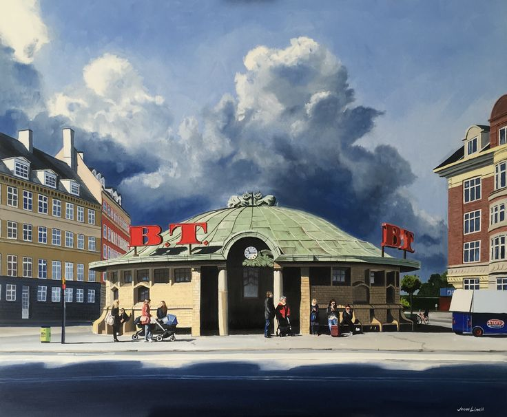 My painting of Trianglen Square in Copenhagen, done for a local client. Oil on canvas, 120 x 100 cm, Jonas Linell 2016. See more at jonaslinell.com #art #painting #city #urban #copenhagen #oil #canvas #kunst #østerbro #københavn #artist #building #oliemaling