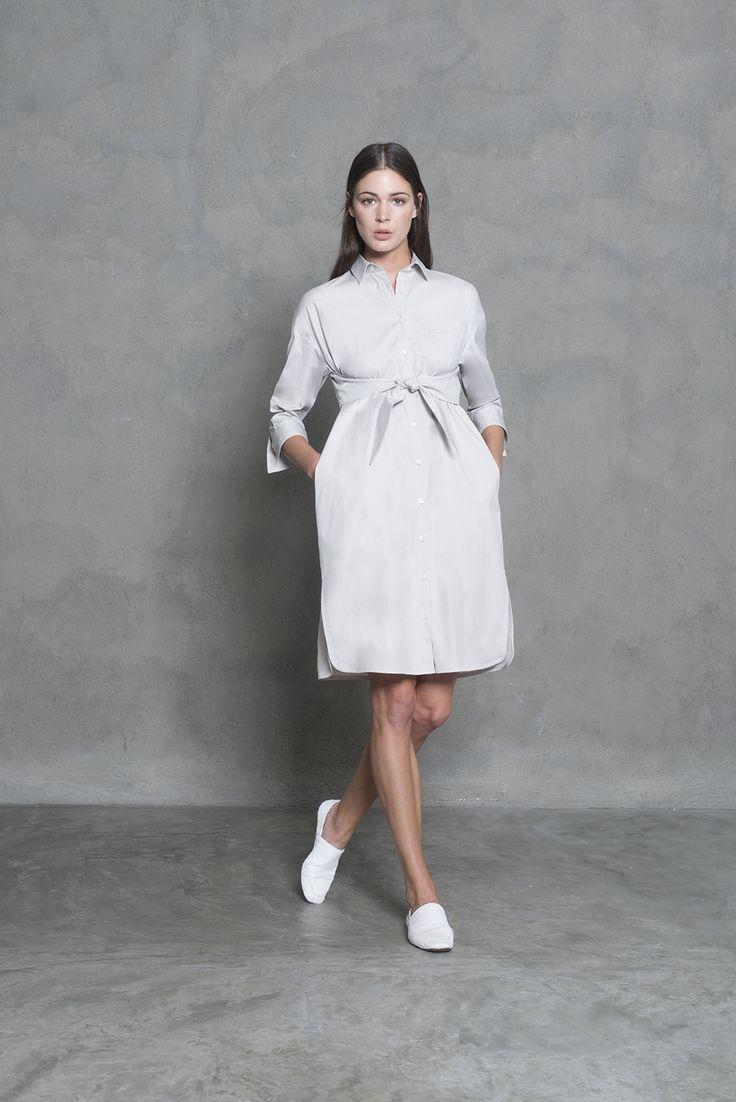 Babydoll shirt dress with bow waistline. Classic sophisticated elegance.