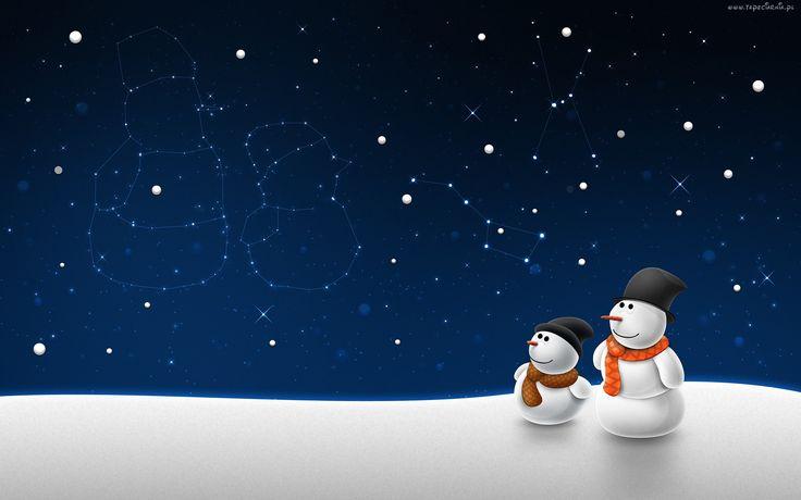 Dla dzieci, Bałwan, Dwa, Bałwanki, Śnieg, Gwiazdy, Zima
