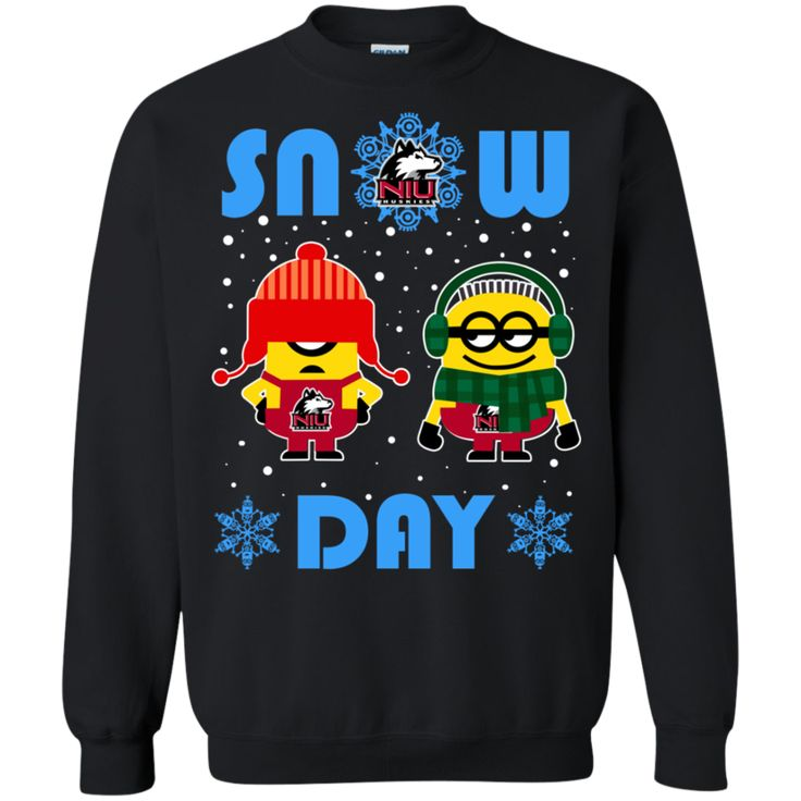 Northern Illinois Huskies Minion Ugly Christmas Sweaters Snow Day Snowflake Sweatshirts