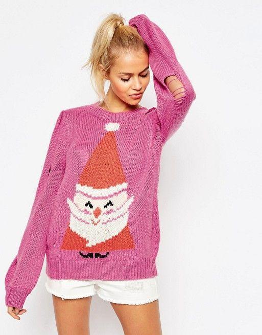 Pink santa Christmas Jumper xx