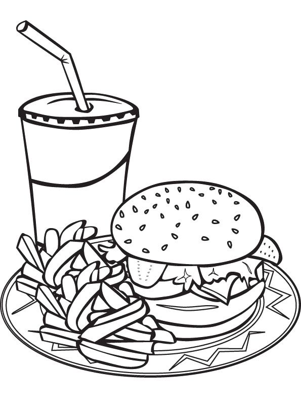 Fast Food Coloring Pages Cute Coloring