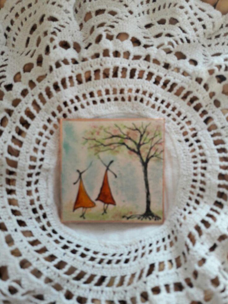 Kasírozott papír alapra festett Táncoló Tündérek