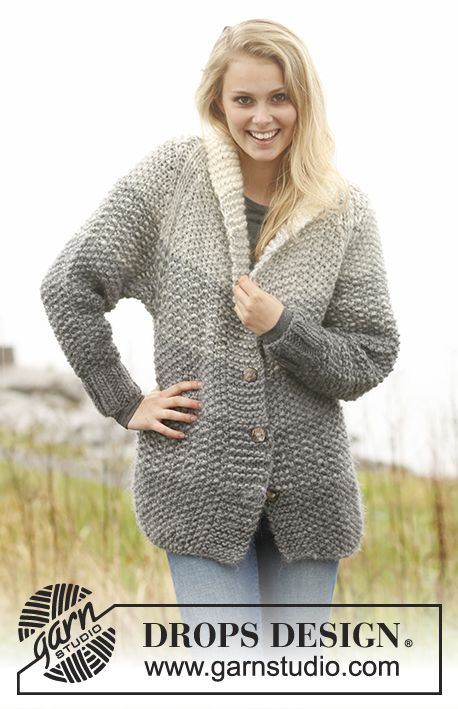 """Grey Sunset Jacket - Knitted DROPS jacket with stripes in moss st and raglan in """"Eskimo"""". Size: S - XXXL. - Free pattern by DROPS Design"""