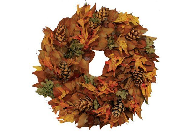 """28"""" Copperbacked Pinecone Wreath, Dried"""