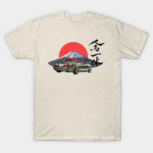 [Cars T-shirt] Mazda MX-5 / Miata NA Race Car Mount Fuji Japan design