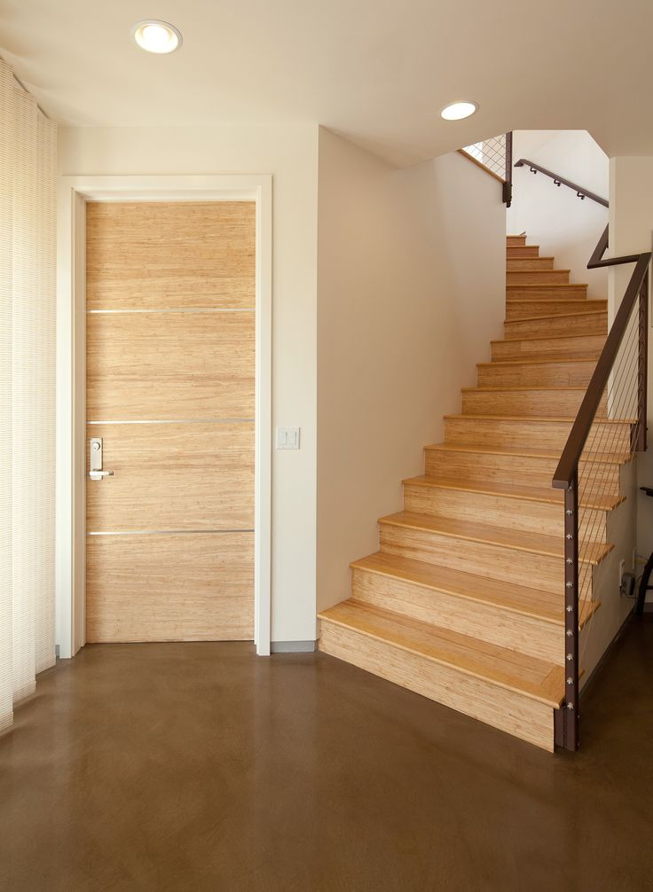 Natural Strand Woven Flush Bamboo Doors With Stainless Steel Inlays To  Match Natural Strand Bamboo On