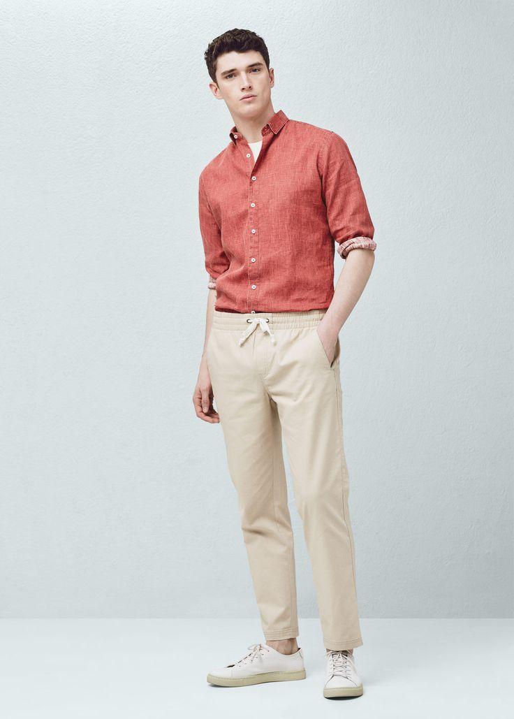 Slim-fit linen shirt - Shirts for Men | MANGO Man USA