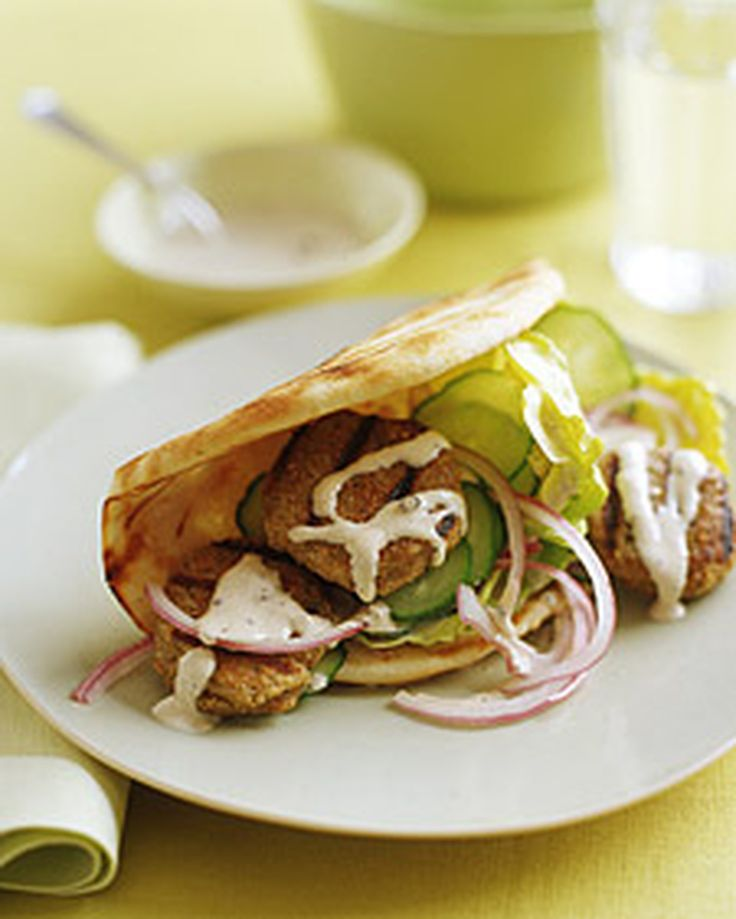 Quinoa-and-Turkey Patties in Pita with Tahini Sauce | Martha Stewart Living - These mini patties are perfect tucked in a pita and drizzled with creamy tahini.