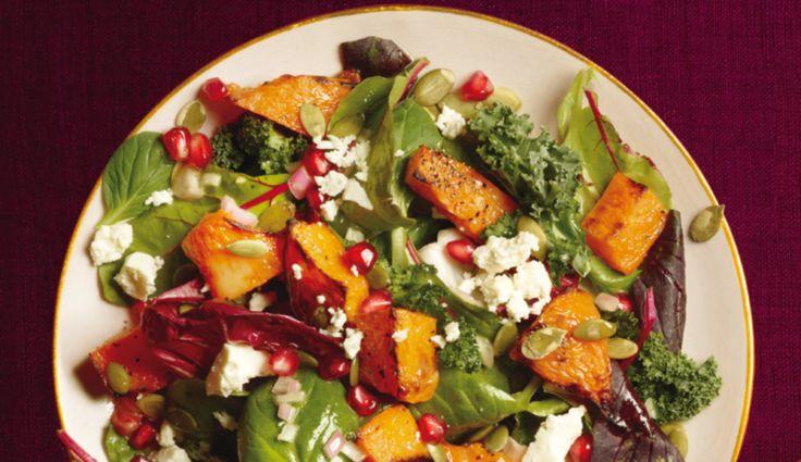 Salat mit gebackenem Kürbis, Granatapfel und Ziegenkäse - Rezepte… (Paleo Dressing Low Carb)