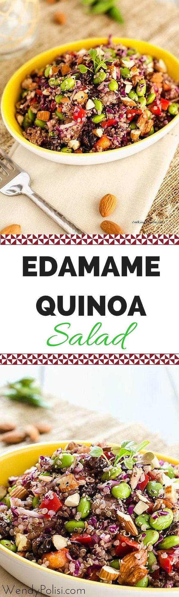 This Edamame Quinoa Salad is a delicious vegan salad that even meat-eaters will find hearty enough for a meal! It is a great make-ahead lunch for the busy work week! via @wendypolisi