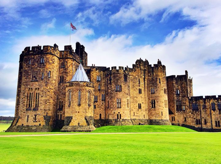 Alnwick Castle, featured in Harry Potter, a castle drive down the coast of Scotland.