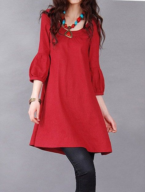 Red/ Green linen dress short sleeve dress by fashionclothingshow, $39.00