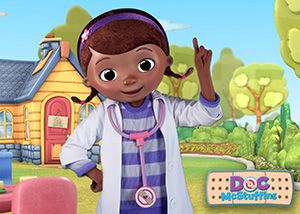 Doc McStuffins and Sofia the First Meeting at Hollywood and Vine, Contact Jennifer to book your next magical vacation!  Jennifer@yourmagicalvacationcom