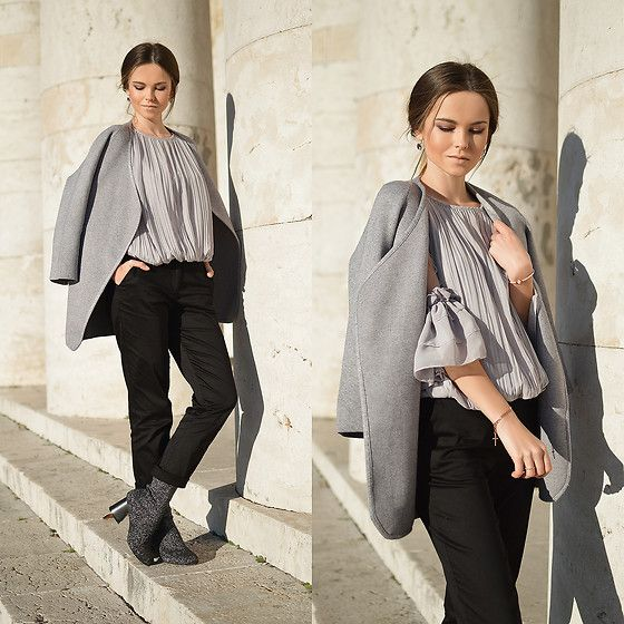Get this look: http://lb.nu/look/8580937  More looks by Tamara Bellis: http://lb.nu/tamarabellis  Items in this look:  Zaful Pleated Ruffled Blouse, Zaful Cardigan, Yoins Glitter Boots, Asos Pants   #casual #elegant #street