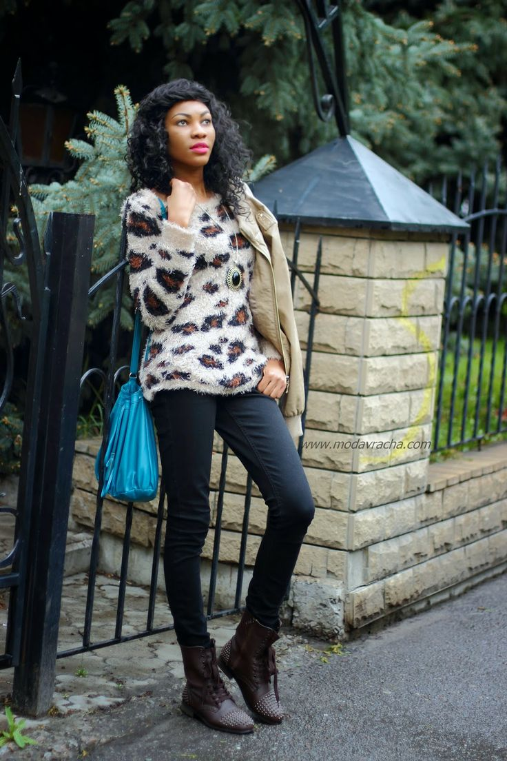 ModaVracha's Spot | Personal Style | Fashion Blog: Outfit: Fluffy Animal Print Jumper