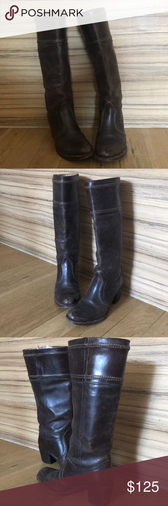 Frye riding boot Brown Frye riding boot.  Vintage feel, have been worn. Frye Shoes Heeled Boots